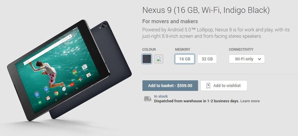 Google Nexus 9 on Play Store