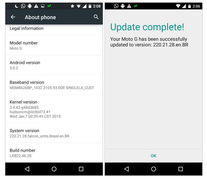 Moto G Lollipop Update India US
