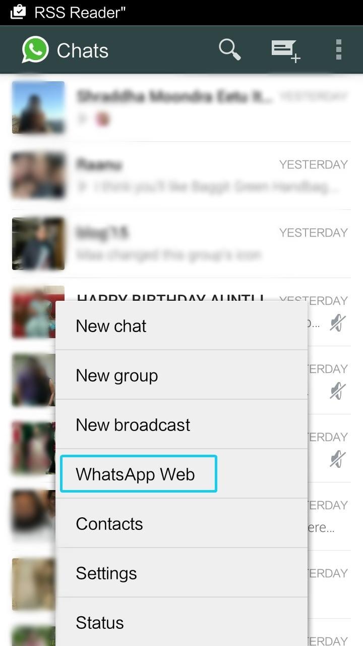 WhatsApp Web option in WhatsApp App APK