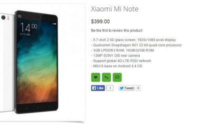 Xiaomi Mi Note and Note Pro priced at Oppomart at $399 and $599 respectively