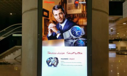 Huawei Watch with Android Wear spotted on Billboards at Barcelona Airport