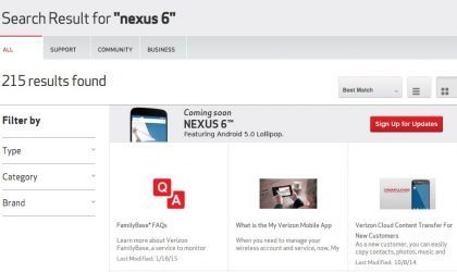 Verizon Nexus 6 release is near, listed as 'coming soon'
