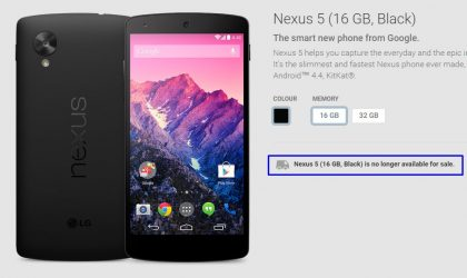 Nexus 5 is gone, no longer available for sale