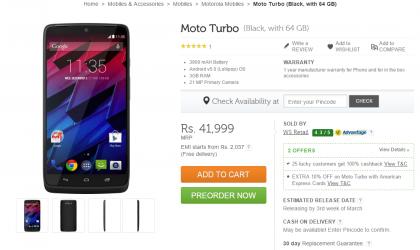 Motorola Moto Turbo price set at INR 41,999 in India, goes on pre-order