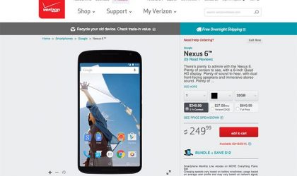 Verizon Lists Google Nexus 6 for Pre-Order for $249