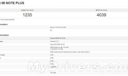 Xiaomi Mi Note Plus with Snapdragon 810 SoC and 4 GB RAM Appears on GeekBench