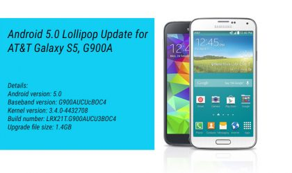AT&T Galaxy S5 receives Android 5.0 Lollipop Update, build no. LRX21T.G900AUCU3BOC4