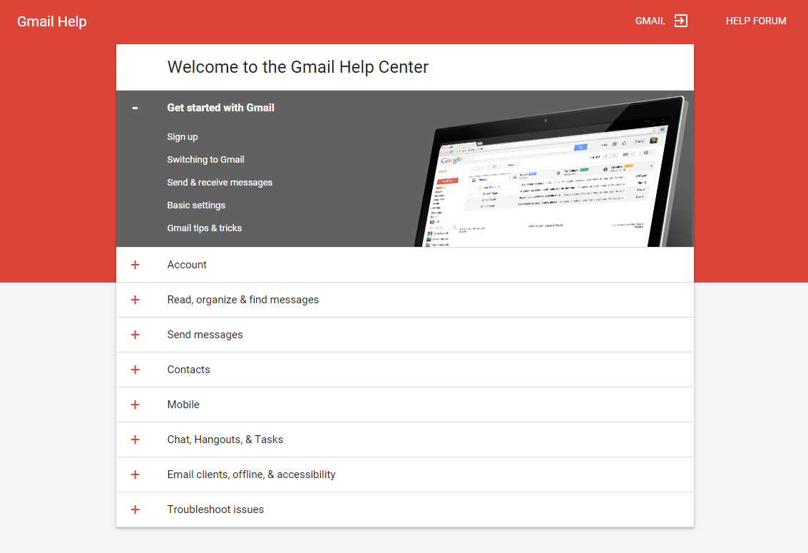 Gmail Support Page Material Design