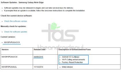 Sprint Galaxy Note Edge Lollipop update (OTA) released, build no. N915PVPU0AOC8