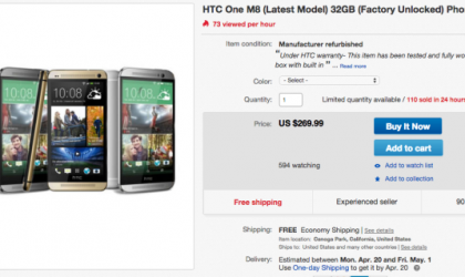 Refurbished Unlocked 32 GB AT&T HTC One M8 Listed on eBay for $270