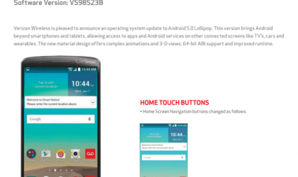 Verizon LG G3 Gets the Android 5.0 Update