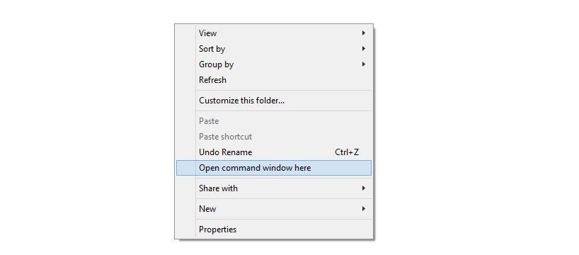 open command windows here
