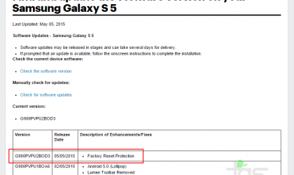 "Sprint Galaxy S5 receiving an OTA update with ""Factory Reset Protection"", build G900PVPU2BOD3"
