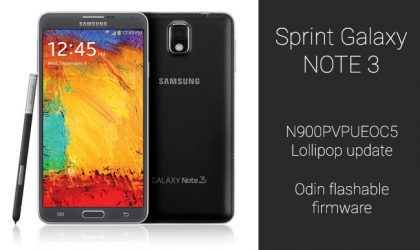 N900PVPUEOC5: Download Sprint Galaxy Note 3 Lollipop update flashable via Odin [Restore/Back To Stock]