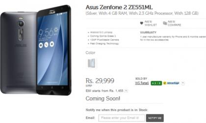 Flipkart Lists Asus ZenFone 2 128 GB Variant as Coming Soon