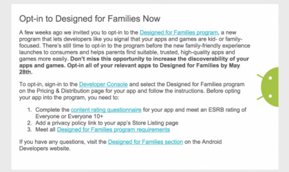 "Google to come up with ""Designed for Families"" kid-friendly Android App segment at Google IO"