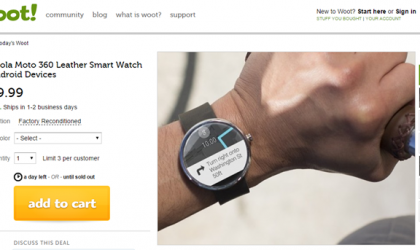 Refurbished Moto 360 with Leather Strap Listed for $130 on Woot only for Today