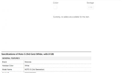 Third Generation Motorola Moto G Flipkart Listing Reveals Some Specs
