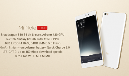 Xiaomi Mi Note Pro with 4 GB RAM Launched in China for $483