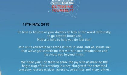ZTE's Nubia Brand Coming to India on May 19