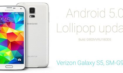 Verizon Galaxy S5 Android 5.0 Lollipop Update build G900VVRU1BOD5 with Root
