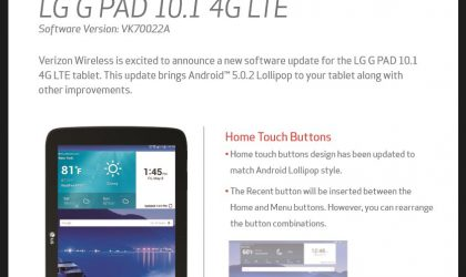 Verizon LG G Pad 10.1 LTE receiving Android 5.0.2 Lollipop OTA update, software version VK70022A
