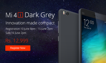 Xiaomi to start selling the Dark Grey Mi 4i on June 16, Registrations are open