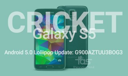 Cricket Galaxy S5 gets Lollipop update in G900AZTUU3BOG3 build [Odin TAR]