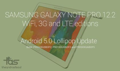 Samsung Galaxy Note PRO 12.2 Android 5.0 Lollipop update for WiFi, 3G and LTE variants (SM-P900/901/905)