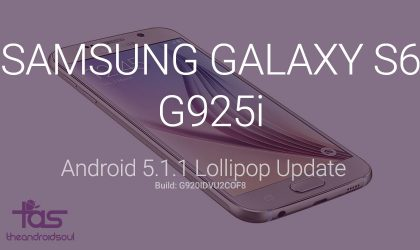 G925IDVU2COF8: Samsung Galaxy S6 Edge G925i Android 5.1.1 update direct download link and install instructions