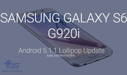 G920IDVU2COF8: Samsung Galaxy S6 G920i Android 5.1.1 update direct download link and install instructions