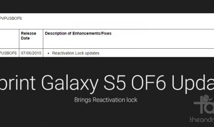 Sprint Galaxy S5 gets a new OF6 Update, brings reactivation lock to the device