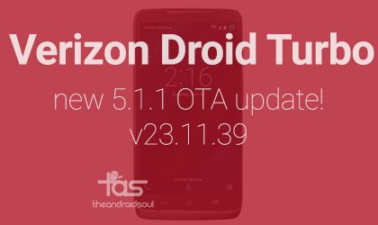 New OTA update for Verizon Droid Turbo in rolling out, version 23.11.39