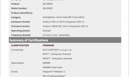 Samsung SM-G903F receives Wi-Fi certification, likely to be the Galaxy S5 Neo