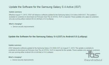 AT&T Galaxy S4 and S4 Active receive updates to fix Stagefright bug, build no. I337UCUGOC4 and I537UCUCOC7 respectively