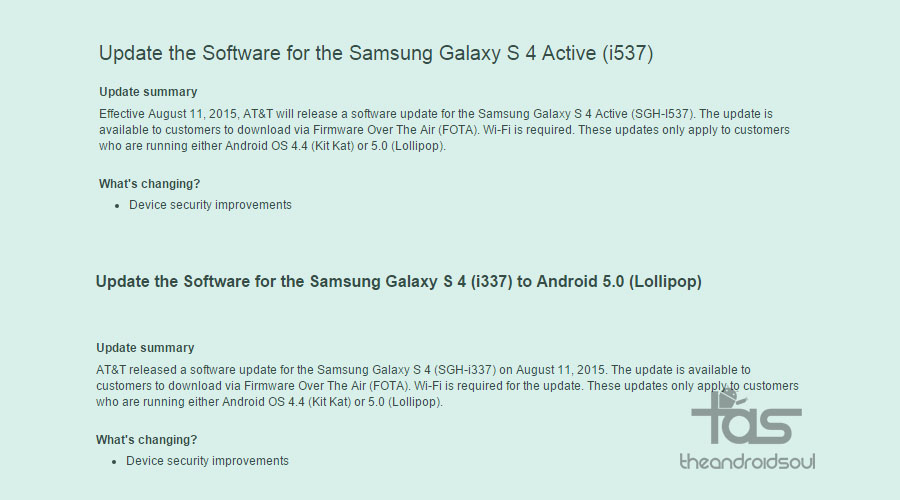 AT&T Galaxy S4 and S4 Active receive updates to fix ...