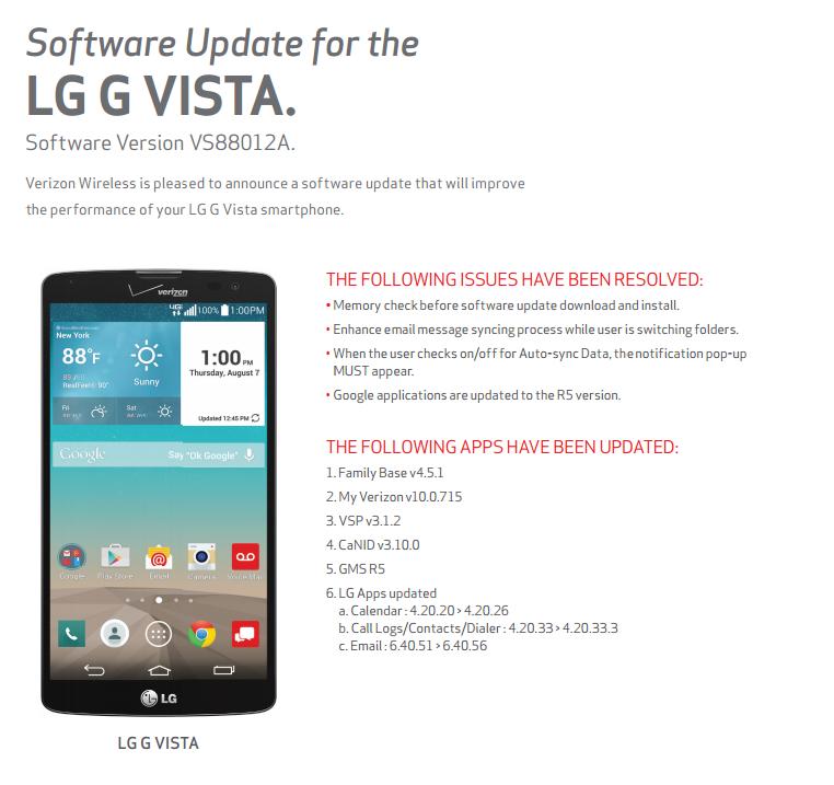 LG G Vista software update