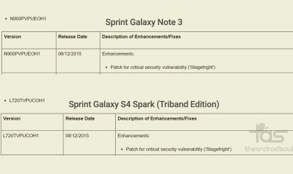 Sprint Galaxy Note 3 and Galaxy S4 Spark get update to fix Stagefright bug