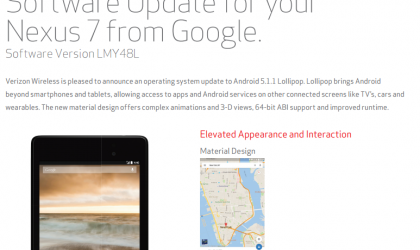 Verizon Nexus 7 receives Android 5.1.1 update in build LMY48L