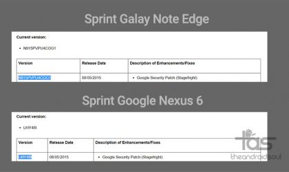Sprint Nexus 6 and Galaxy Note Edge receiving update to fix Stagefright vulnerability [Update: More devices add to list!]