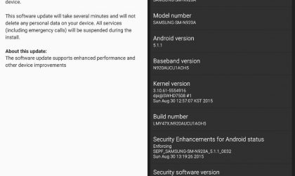 AT&T Galaxy Note 5 receives update to build N920AUCU1AOH5