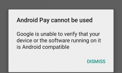 "Android Pay Root fix solves ""Android pay cannot be used"" error"