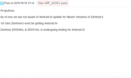 Asus Zenfone 4, 5 and 6 won't get Marshmallow update!