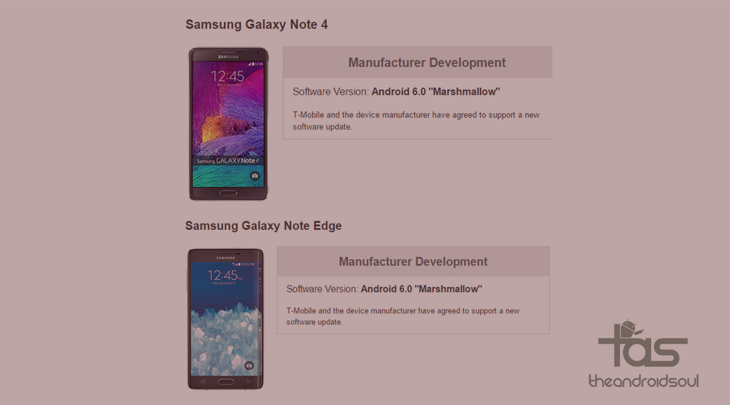 T-Mobile Galaxy Note 4 and Note Edge Marshmallow update