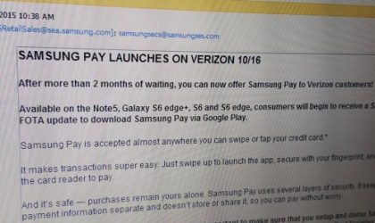 Verizon releases Samsung Pay update for Galaxy S6, S6 Edge, S6 Edge+ and Note 5