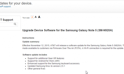 Not Marshmallow but new update rolling out for AT&T Galaxy Note 5 (build G920AUCU1AOJ1)