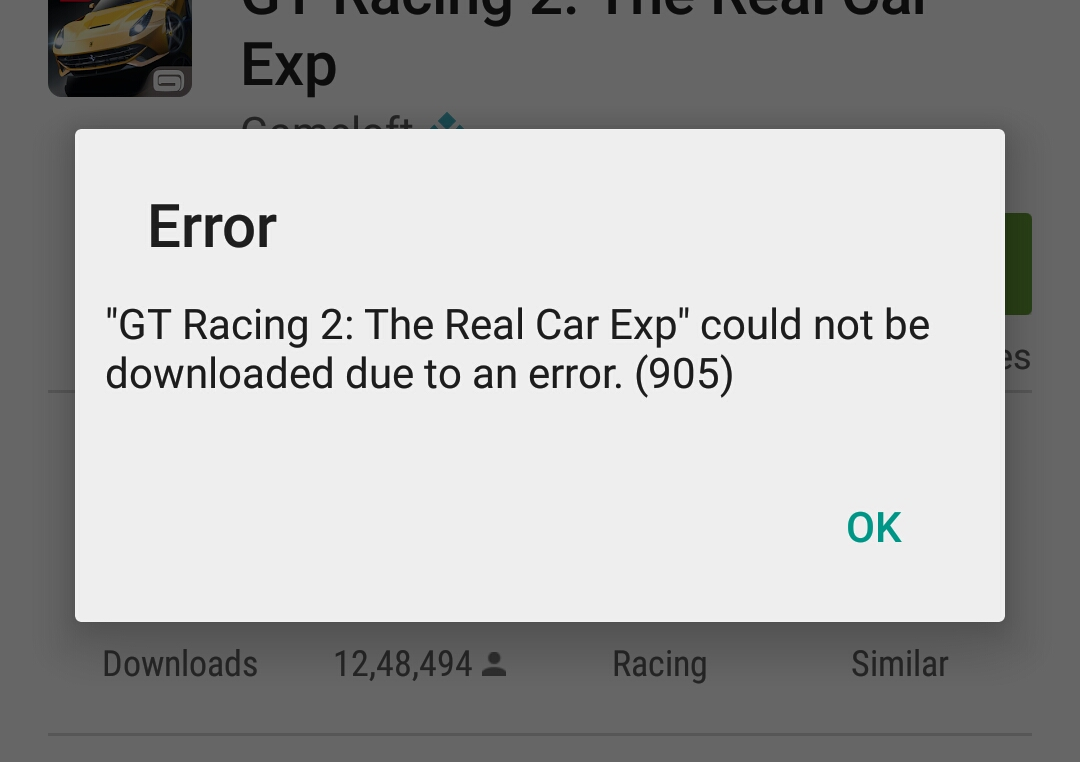 App download error 905