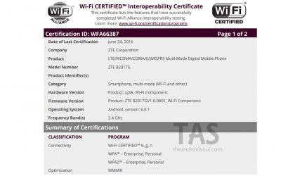 ZTE B2017 is now Wi-Fi certified, may launch soon