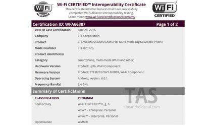 ZTE B2017 is now Wi-Fi certified, may launch soon