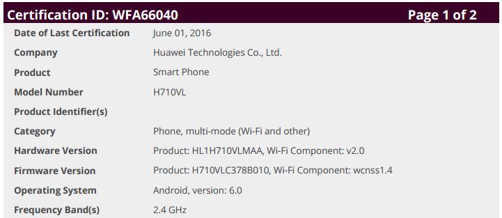 Huawei Nexus 2016 WiFi